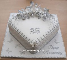 Silver wedding anniversary cake 25th | by Helen The Cake Lady