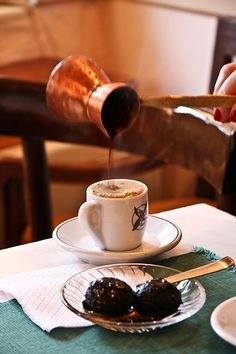 Greek Coffee and dessert of the spoon (Ellinikos kafes k gliko tou koutaliou) MY FAVE! Coffee Cafe, My Coffee, Coffee Shop, Coffee Break, Morning Coffee, Turkish Coffee Cups, Brunch, Greek Cooking, Coffee Culture