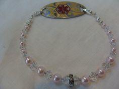 Pink Swarvoski Pearls and Swarovski Crystal Medical ID Replacement Bracelet