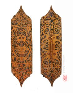 Dayak Shield, (back & front view)   Origin: Indonesia, Borneo, Kalimantan Circa: 1900-1915  (128x35cm)  #indonesia #tribal #dayak