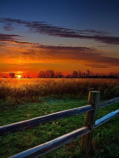 Sunset over a country pasture