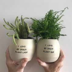 Hi, I'm Hannah. I'm a one-woman ceramic business that focusses on handmade planters that feature witty and sassy sayings. I call them Pun Pots. Ceramic Flower Pots, Ceramic Planters, Planter Pots, Head Planters, Succulent Pots, Potted Succulents, Succulent Display, Cactus Pot, Cactus Plants