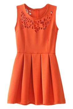#ROMWE | Cut-out Carving Orange Pleated Dress, The Latest Street Fashion
