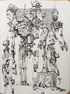 Can't stop the Robodoodles. Robot Concept Art, Environment Concept Art, Character Design Animation, Character Art, Ink Illustrations, Illustration Art, Art Sketches, Art Drawings, Arte Cyberpunk
