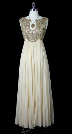 Chiffon Evening Dress with Embellished Bodice, ca. via Red House Vintage dress bodice fashion glamour glam embellishment fashion evening dresses evening gowns Vintage Dresses, Vintage Outfits, Vintage Fashion, 1960s Fashion, Vintage Clothing, 60s Dresses, Club Fashion, Fashion Fashion, Fashion News