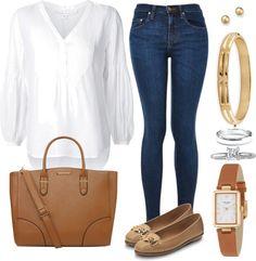Mis combinaciones diarias: Blusa Blanca Jean Oscuro