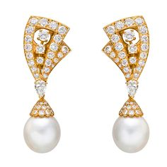 """""""Lamballe"""" diamond and pearl drop earrings, set with circular-cut diamonds weighing approximately 5.92 total carats and pear-shaped diamonds weighing approximately 0.98 total carats, mounted in 18k yellow gold, suspending two pear-shaped cultured pearl drops weighing approximately 40.33 total carats, numbered 143.251, signed Van Cleef & Arpels. 2"""" length. c 1995, 50k USD"""
