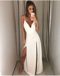 White prom dress - V Neck White Maxi Dress with Slits Simple Prom Dress – White prom dress Chiffon Evening Dresses, Cheap Evening Dresses, Backless Prom Dresses, White Maxi Dresses, Mermaid Prom Dresses, Formal Dresses, Formal Prom, Ball Dresses, Long Dresses