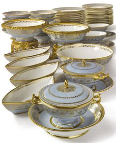 dinner and dessert services A Sèvres 'bleu agate'-ground part dinner service circa from the service commissioned b Fine China Dinnerware, Dinnerware Sets, Vintage Dinnerware, Vase Deco, Tea Service, Dinner Sets, Antique China, Decoration Table, Tea Set