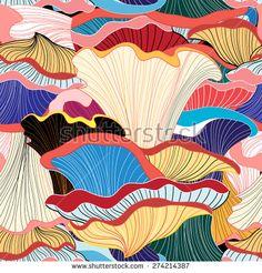 beautiful graphic pattern of colorful mushrooms