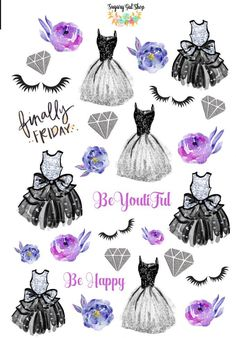 Glam Dress Lilac Planner Sticker Set 3 by SugaryGaLShop on Etsy