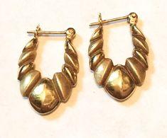 Vintage 14K Yellow Gold Pierced Ribbed Hoop Earrings 1.2 Grams Hollow  #Hoop
