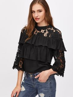 lace and ruffles blouse