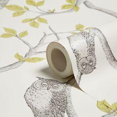 Woodland Owls Green Mica Effect Wallpaper | Departments | DIY at B&Q