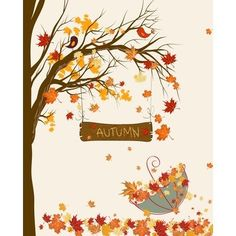 Autumn Art, love the two cute lil birdies in the tree! Autumn Art, love the two cute lil birdies in the tree! Autumn Art, Autumn Trees, Autumn Leaves, Umbrella Art, Tree Silhouette, Fall Nail Designs, Fall Pictures, In The Tree, Samhain