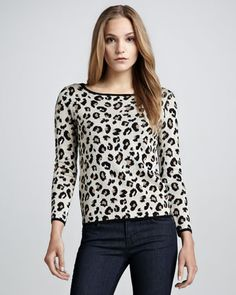 Velvet by Spencer & Graham Leopard Print Sweater from Neiman Marcus