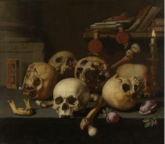 Aelbert Jansz van der Schoor, Vanitas Still Life (Skulls on a Table), c. 1660, Oil on canvas