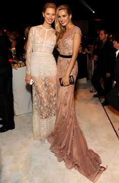 2014 Oscars Party Pics : Karolina Kurkova and Petra Nemcova attend the 22nd Annual Elton John AIDS Foundation Academy Awards viewing party with Chopard at the City of West Hollywood Park on March 2, 2014 in West Hollywood, California. (Stefanie Keenan/Getty Images for Chopard)