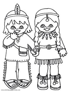 drawings of indians kids | Indians coloring pages and sheets can be found in the Indians ...