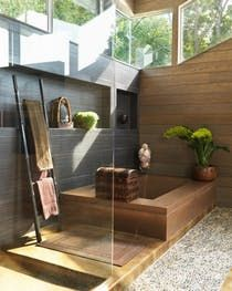 Glass House, Bathroom  Solarium  Bath  Outdoor Room  Vignette  Mudroom  Contemporary  Asian  Coastal  Transitional by Santopietro Interiors