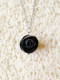 Rose necklace, made from a recycled bike innertube. $25 on Ethical Ocean. #recycle #handmade