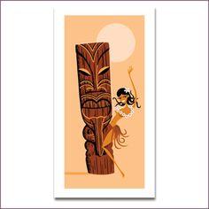 5x7 Mini Print Ape Tiki Art Set Polynesian Lowbrow Art Tiki Bar Decor Monkey