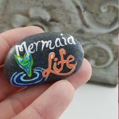 Painted stone mermaid magnet - painted rock - decorative stone magnet - stone - beach pebble - mermaid lover gift - girl's bedroom by LoveOfNatureByBrandy on Etsy