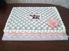 Baby Shower - All buttercream with fondant chevron & flower (made with 5 petal rose cutter. Pastel Rectangular, Baby Shower Sheet Cakes, Sheet Cake Designs, Slab Cake, Diaper Shower, Girl Cakes, Girl Shower, Flower Making, Themed Cakes