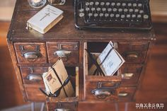 Vintage Minimalism Wedding Shoot at Russell's Loft-Old love letters tucked into Vintage Ambiance's mail sorter | Max-&-Sam-Photography