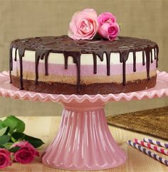 Neapolitan Nutella Cheesecake - Everyone will think that this perfect cake came from a bakery. But it wasn't even baked! Cheese Cake Nutella, Nutella Cheesecake, Cheesecake Recipes, Dessert Recipes, Nutella Cookies, Strawberry Cheesecake, Food Cakes, Cupcake Cakes, Super Cookies