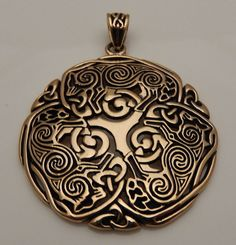 Celtic WOLF Pendant Gold Tone Bronze Norse Celtic Triskele Wolf energy amulet