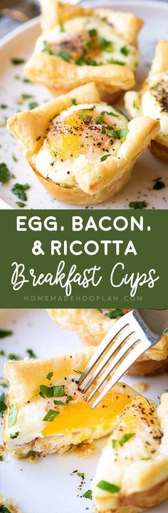 Egg, Bacon, & Ricotta Breakfast Cups! Savory egg cups made with flakey puff pastry, crunchy bacon, and a dollop of ricotta cheese then seasoned with pepper and garlic salt. #ad @krogerco | HomemadeHooplah.com