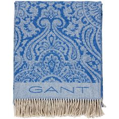 ce789b6039a0c Gant Tiffany Throw - Mid Blue (£85) ❤ liked on Polyvore featuring home, bed  & bath, bedding, blankets, blue, blue throw blanket, paisley blanket, gant,  ...