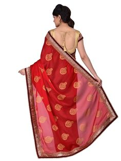 Red & Beige Colour Georgette & Satin Crepe Embroidered Saree With Unstitched Blouse Piece