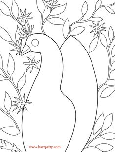 Traceable floral peacock and coloring page!! www.hartparty.com as seen on youtube