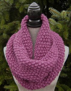 Chunky Knit Infinity Scarf  Women's Hand Knit by SwaddleinCloth