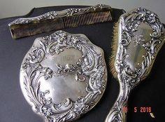 Antique-William-B-Kerr-Sterling-Silver-Mirror,Brush,Comb  Art Nouveau set