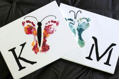 This butterfly footprint art doesn't require sewing skills, decoupage, or, um, talent. Make some for your home and a few to give away to the grandparents!