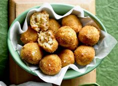 Mushroom and bacon arancini: Tasty arancini balls filled with mushroom and bacon are a perfect entree or lunch snack.