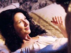 "204 (gif) - Claire: ""What the hell is that? Are those bite marks?"" Jamie: ""Aye, well, uh, she did get a wee bit carried away."" Claire: ""She? She... are you referring to that brunette whore that Fergus is always talking about?"" Jamie: ""No, no, it was a different girl entirely."" Claire: ""Oh, it was a different girl entirely. What, that makes it better? And how exactly did this different girl entirely manage to bite your thighs?"" Jamie: ""There is a simple explanation."" Claire: ""Well, I should"