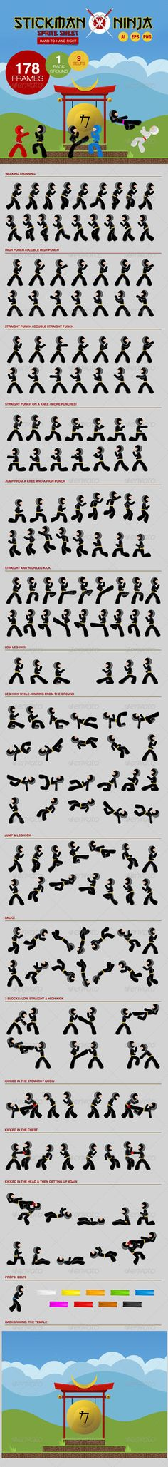 Stickman Ninja Sprite Sheet - Hand-To-Hand Fight - Sprites Game Assets