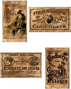 Make your vintage tin or jar with these Vintage Chocolates Labels  www.kountryexpressions.net