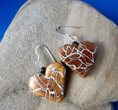 Polymer clay earrings in a heart shape with by KooshyJewellery, £8.50