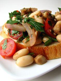 Warm Cannellini Bean Bruschetta