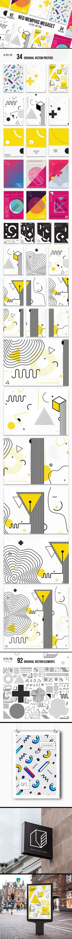 Mega set of 34 vector posters and backgrounds, 92 original vector elements for your design. Colorful collection in MEMPHIS styles 80-90ss perfect suit for greeting cards, stickers, baners, posters, web, social media, brandbook, business card, email, print…
