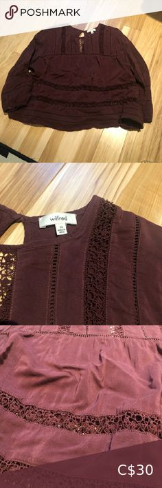 Wilfred Blouse Perfect Condition Too small for me Wilfred Tops Blouses Red Purple, Red Color, Shop My, Blouses, Product Description, Best Deals, Skirts, Things To Sell, Tops