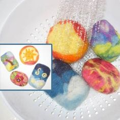 Living Crafts Blog » Craft Room:  Felted Wool Soap, Felt Board Template, Ornaments, Knit Doll Clothes and More