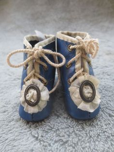 AWESOME Vintage French Fashion Bebe Doll Royal Blue Heeled Leather Boots