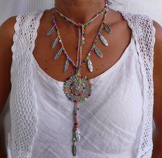 Beige MANDALA etnica collana argento piume boho collana