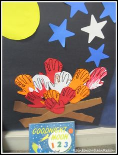 Campfire made from painted handprints - add handprints for mission project's daily goal?